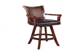 Upholstered Swivel Bar Stool Black And Warm Brown