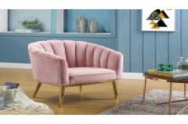 Colla Accent Chair - Pink Velvet & Gold