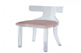 Bradley Accent Chair - Light Pink Velvet & Clear Acrylic