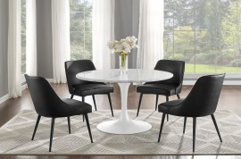 Colfax White Marquina Marble Dining Set 5pc - Black Vinyl Chairs