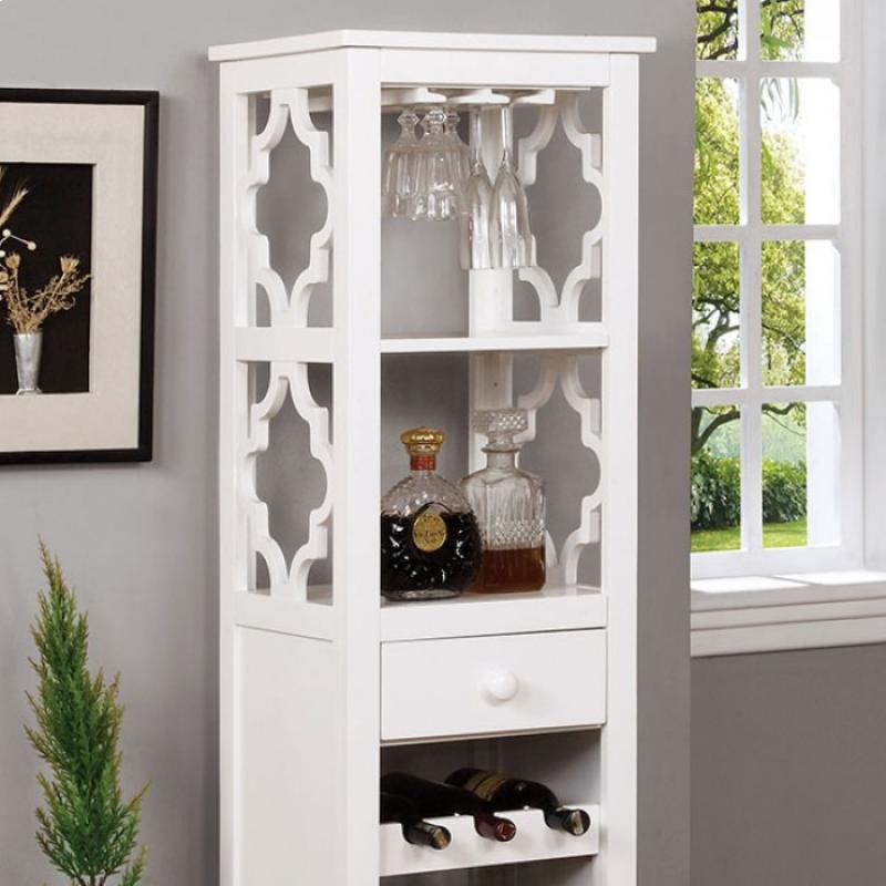 Furniture of America Akaska Wine Cabinet W/ Foldable Table