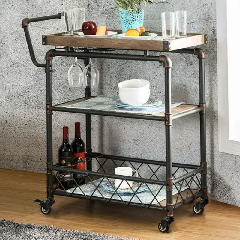 Furniture of America Keervan Wine Cabinet W/ Foldable Table