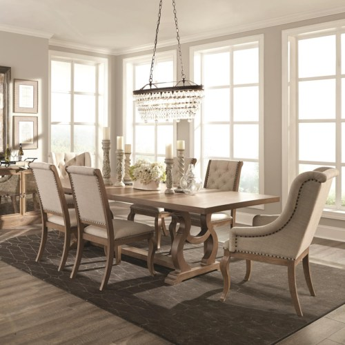 CF-Glen Cove Traditional Trestle Table and Chair Set