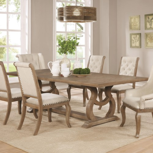 CF-Glen Cove Traditional Dining Table with Trestle