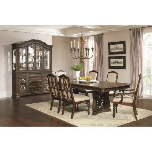 CF-Ilana Traditional 7 Piece Table and Chair Set with Removable Leaf
