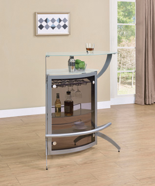 2-Shelf Bar Unit Silver And Frosted Glass