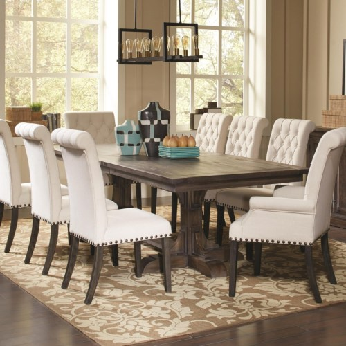 CF-Weber Traditional Rectangular Dining Table with Ornate Pedestals